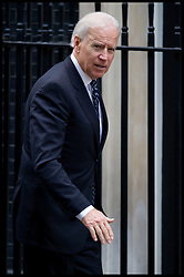 US Vice President Joe Biden arrives at No10 Downing Street for meetings with the Deputy Prime Minister Nick Clegg then a working lunch with Prime Minister David Cameron, London, Tuesday February 5, 2013. Photo By Andrew Parsons / i-Images
