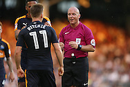 Referee Simon Hooper talks to Matt Ritchie of Newcastle United. Skybet EFL championship match, Fulham v Newcastle Utd at Craven Cottage in Fulham, London on Friday 5th August 2016.<br /> pic by John Patrick Fletcher, Andrew Orchard sports photography.