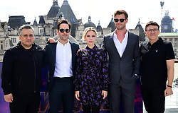 Joe Russo, Paul Rudd, Scarlett Johansson, Chris Hemsworth and Anthony Russo attending a photocall for Avengers: Endgame, at the Corinthia in London.