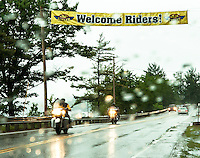 Drenching rain welcomes motorcyclists as they make their way into the region for Laconia's Motorcycle Week starting Friday evening.  (Karen Bobotas/for the Laconia Daily Sun)