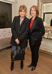 Left to right, SARAH STANDING and LESLEY GALLACHER  at a Valentine's charity event to raise heart awareness and support the charity Arrhythmia Alliance held at Sophie Gass, 4 Ladbroke Grove, London on 13th February 2014.
