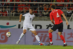 September 7, 2018 - Goyang, Gyeonggi, South Korea - September 7, 2018-Goyang, South Korea-Kim Minjae of South Korea and Daniel Colindres of Costa Rica action on the field during an Football A Match South Korea vs Costa Rica at Goyang Sports Complex in South Korea. Match Won South KOrea, Score by 2-0. (Credit Image: © Ryu Seung-Il/ZUMA Wire)