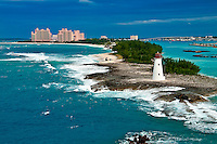View of lighthouse in Nassau, Bahamas and tourist resorts in the city,