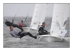 470 Class European Championships Largs - Day 2.Wet and Windy Racing in grey conditions on the Clyde...GBR849, Joanna FREEMAN, Katie TOMSETT, Parkstone YC..
