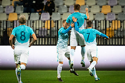 Players of Slovenia celebrate second goal in last seconds of the game during friendly Football match between U21 national teams of Slovenia and England, on October 11, 2019 in Ljudski Vrt, Maribor, Slovenia. Photo by Blaž Weindorfer / Sportida