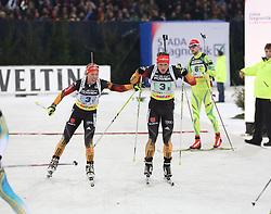 28.12.2013, Veltins Arena, Gelsenkirchen, GER, IBU Biathlon, Biathlon World Team Challenge 2013, im Bild Der letzte Wechsel zwischen Laura Dahlmeier (Deutschland / Germany), Florian Graf (Deutschland / Germany), Action, Aktion // during the IBU Biathlon World Team Challenge 2013 at the Veltins Arena in Gelsenkirchen, Germany on 2013/12/28. EXPA Pictures © 2013, PhotoCredit: EXPA/ Eibner-Pressefoto/ Schueler<br /> <br /> *****ATTENTION - OUT of GER*****