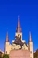Statue of Andrew Jackson with St. Louis Cathedral in back, Jackson Square,  French Quarter, New Orleans, Louisiana, USA