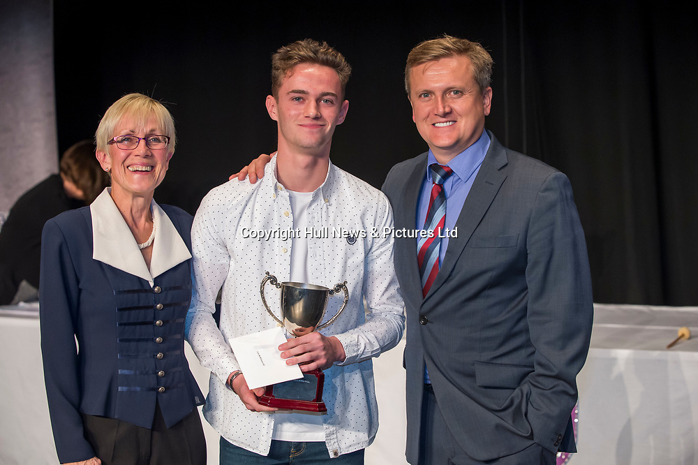 10 October 2017: Cleethorpes Academy Presentation Evening at Grimsby Auditorium. The guest speaker was Aled Jones MBE who presented the awards and also visited the Academy earlier in the day.<br /> Dr Aukett Chemistry Award winner Liam McWilliams-Hill. Pictured left is Governor Jane Aukett.<br /> Picture: Sean Spencer/Hull News & Pictures Ltd<br /> 01482 210267/07976 433960<br /> www.hullnews.co.uk         sean@hullnews.co.uk