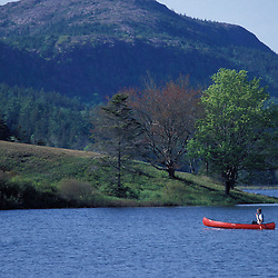 Acadia N.P., ME. Canoeing. Little Long Pond. Parkman Mtn. Spring.