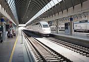 Trains at platform inside Santa Justa railway station Seville, Spain