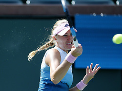 March 7, 2019 - Los Angeles, California, U.S - Kristina Mladenovic of France, returns the ball to Saisai Zheng of China, during the women singles first round match of the BNP Paribas Open tennis tournament on Thursday, March 7, 2019 in Indian Wells, California. Mladenovic won 2-0. (Credit Image: © Ringo Chiu/ZUMA Wire)