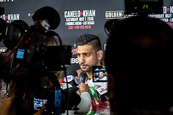 """LOS ANGELES, CA - MARCH 2:  former two-time world champion and resurgent contender Amir """"King"""" Khan (31-3, 19 KOs) attends Canelo vs Khan press conference at Universal CityWalk - Five Towers Stage on March 2, 2016 in Los Angeles. Canelo vs. Khan, a 12-round fight for Canelo's WBC, Ring Magazine and Lineal Middleweight World Championships, is promoted by Golden Boy Promotions in association with Canelo Promotions and sponsored by Cerveza Tecate, BORN BOLD, O'Reilly Auto Parts and Casa Mexico Tequila. The mega-event will take place on Saturday, May 7 at T-Mobile Arena in Las Vegas and will be produced and distributed live by HBO Pay-Per-View beginning at 9:00 p.m. ET/6:00 p.m. PT. Byline, credit, TV usage, web usage or linkback must read SILVEXPHOTO.COM. Failure to byline correctly will incur double the agreed fee. Tel: +1 714 504 6870."""