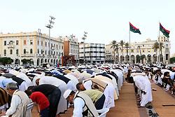 TRIPOLI, Sept. 12, 2016 (Xinhua) -- People pray on Martyrs' Square to celebrate the Muslim festival of Eid Al-Adha in Tripoli, Libya, on Sept. 12, 2016. Muslims across the world celebrate the Eid al-Adha festival, or the Festival of Sacrifice. (Xinhua/Hamza Turkia) (wtc) (Credit Image: © Hamza Turkia/Xinhua via ZUMA Wire)