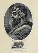 Lycurgus (fl. c. 820 BC) was the quasi-legendary lawgiver of Sparta who established the military-oriented reformation of Spartan society in accordance with the Oracle of Apollo at Delphi. All his reforms promoted the three Spartan virtues: equality (among citizens), military fitness, and austerity. Copperplate engraving From the Encyclopaedia Londinensis or, Universal dictionary of arts, sciences, and literature; Volume VIII;  Edited by Wilkes, John. Published in London in 1810.