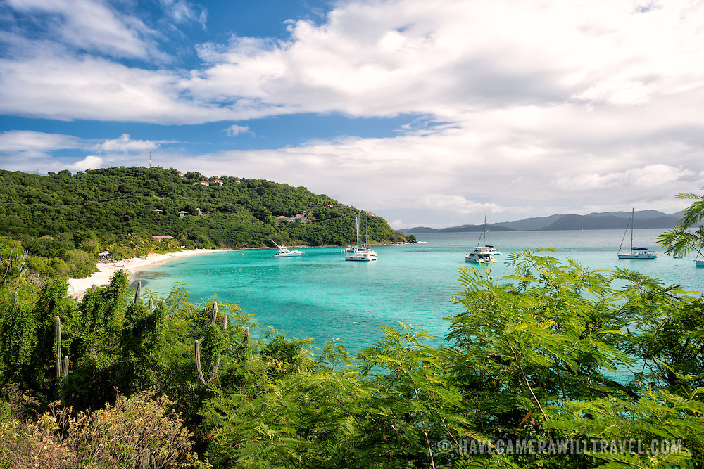 A protected bay and anchorage on Jost Van Dyke in the British Virgin Islands.