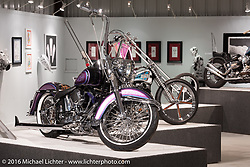 Jeff Holt's Vicla custom Harley-Davidson Softail in Michael Lichter's Skin & Bones tattoo inspired Motorcycles as Art show at the Buffalo Chip Gallery during the annual Sturgis Black Hills Motorcycle Rally. SD, USA. August 10, 2016. Photography ©2016 Michael Lichter.