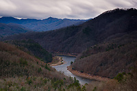 BRYSON CITY, NORTH CAROLINA - CIRCA DECEMBER 2019: View of Tuckasegee River and mountain from the Lakeview Drive close to Bryson City, in the Smoky Mountains National Park