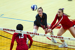 BLOOMINGTON, IL - September 28: Kendal Meier and Sarah Kushner during a college Women's volleyball match between the ISU Redbirds and the Southern Illinois Salukis on September 28 2019 at Illinois State University in Normal, IL. (Photo by Alan Look)