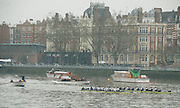 Putney, London. Oxford [Blue Boat] and Molesey BC.  Umpire, Richard PHELPS, warns Molesey BC, for steering, as the crews approach Putney Hard, Pre Varsity Boat race fixture, over the Championship Course, [Putney to Mortlake].  Race divided into two trials. 1. Start to Hammersmith Pier. 2. Chiswick Eyot to Finish. River Thames. Sunday 20.02.2011  [Mandatory Credit - Karon Phillips/Intersport Images]..Crews:.Oxford. Bow, Ben MYERS, Moritz HAFNER, Ben ELLISON, Alec DENT, Karl HUDSPITH, Constantine Louloudis, George WHITTAKER, Stroke Simon HISLOP and Cox Sam WINTER-LEVY.