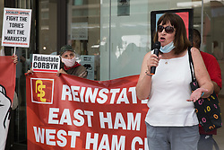 London, UK. 20th July, 2021. Sandy Palmer, former chair of Hemel Hempstead CLP, addresses supporters of left-wing Labour Party groups at a protest lobby outside the party's headquarters. The lobby was organised to coincide with a Labour Party National Executive Committee meeting during which it was asked to proscribe four organisations, Resist, Labour Against the Witchhunt, Labour In Exile and Socialist Appeal, members of which could then be automatically expelled from the Labour Party.