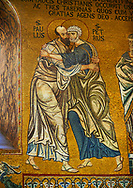 Medieval Byzantine style mosaics of St Peter meeting St Paul, the Palatine Chapel, Cappella Palatina, Palermo, Italy .<br /> <br /> If you prefer you can also buy from our ALAMY PHOTO LIBRARY  Collection visit : https://www.alamy.com/portfolio/paul-williams-funkystock/byzantine-art-antiquities.html . Type -    Palatine     - into the LOWER SEARCH WITHIN GALLERY box. Refine search by adding background colour, place, museum etc<br /> <br /> Visit our BYZANTINE MOSAIC PHOTO COLLECTION for more   photos  to download or buy as prints https://funkystock.photoshelter.com/gallery-collection/Roman-Byzantine-Art-Artefacts-Antiquities-Historic-Sites-Pictures-Images-of/C0000lW_87AclrOk