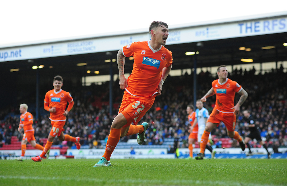Blackpool's Grant Hall celebrates scoring his sides equalising goal to make the score 1-1<br /> <br /> Photographer Chris Vaughan/CameraSport<br /> <br /> Football - The Football League Sky Bet Championship - Blackburn Rovers v Blackpool - Saturday 21st February 2015 - Ewood Park - Blackburn<br /> <br /> © CameraSport - 43 Linden Ave. Countesthorpe. Leicester. England. LE8 5PG - Tel: +44 (0) 116 277 4147 - admin@camerasport.com - www.camerasport.com