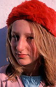 A793GB Young blonde pretty girl wearing soft red hat