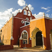 The front of the Candelaria Church in Valladolid, a colonial town in Yucatan, Mexico.