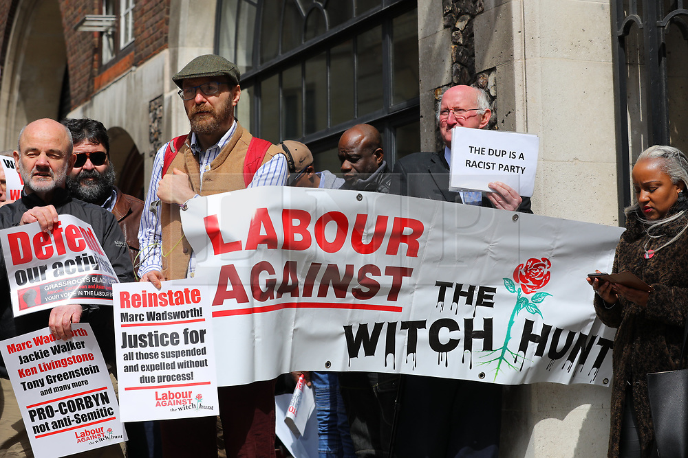 © Licensed to London News Pictures. 25/04/2018. London, UK. Protesters gather outside Church House in Westminster where a disciplinary hearing for Labour activist Marc Wadsworth over alleged antisemitic comments is taking place. Photo credit: Rob Pinney/LNP