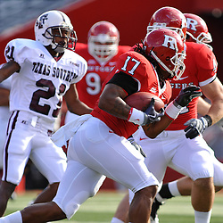 Oct 10, 2009; Piscataway, NJ, USA; Rutgers linebacker Damaso Munoz (17) carries a fumble recovery during first half NCAA college football action between Rutgers and Texas Southern at Rutgers Stadium.