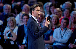 © London News Pictures. 24/09/2013 . Brighton, UK.   Labour party leader ED MILIBAND delivers his Key-note speech on the third day of the Labour Party Conference in Brighton. Photo credit : Ben Cawthra/LNP