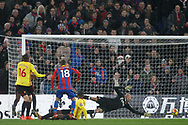 James McArthur of Crystal Palace (18) scores his team's second goal. Premier League match, Crystal Palace v Watford at Selhurst Park in London on Tuesday 12th December 2017. pic by Steffan Bowen, Andrew Orchard sports photography.