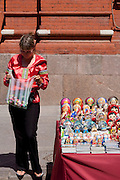 Souvenir seller at the entrance to Red Square, Moscow, Russia