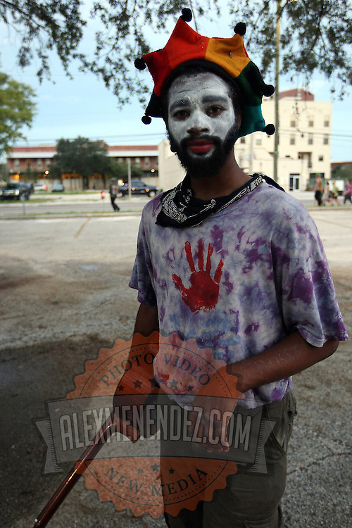 A musician called Daquiri walks to his campsite during the Republican National Convention in Tampa, Fla. on Wednesday, August 29, 2012. (AP Photo/Alex Menendez)