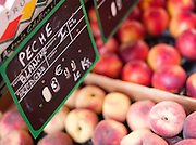 White peaches at a market in Valence, in the Drôme region, Francee