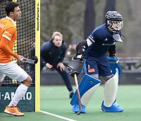 BLOEMENDAAL - Hockey. keeper Camille van Emstede (Tilburg)  Bloemendaal HI-Tilburg HI, oefenwedstrijd.    COPYRIGHT  KOEN SUYK