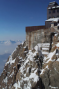 Views of and around the Aiguille du Midi cable car station. The top viewing platform (after an elevator ride) is 3,842m (12,602ft) above sea level.