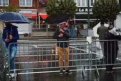 Wind and rain at the start of the 2020 Liège Bastogne Liège, a 135 km road race from Bastogne to Liège, Belgium on October 4, 2020. Photo by Sean Robinson/velofocus.com