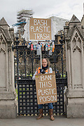 A man campaigning to ban the use of plastics on the 12th April 2019 in London in the United Kingdom.