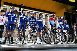 March 10, 2019 - Paris, Ile-de-France, France - Deceuninck Quick-Step cycling team poses during the team's presentation at the start of the 138,5km 1st stage of the 77th Paris-Nice cycling race between Saint-Germain-en-Laye and Saint-Germain-en-Laye in the west suburb of Paris, France, on March 10, 2019. Whether leaders of a team or merely a team-mate, the riders on the Paris-Nice try to excel, either individually or as a team. According to the stage profiles, changes in the general standings or some unexpected circumstance during the race, each rider adapts his objectives to the situation. (Credit Image: © Michel Stoupak/NurPhoto via ZUMA Press)