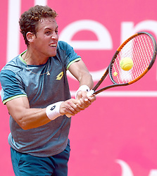 LISBON, May 4, 2018  Spain's Roberto Carballes Baena returns the ball during second round match of Estoril Open Tennis tournament against Britain's Cameron Norrie in Cascais, near Lisbon, Portugal, May 3, 2018. (Credit Image: © Zhang Liyun/Xinhua via ZUMA Wire)
