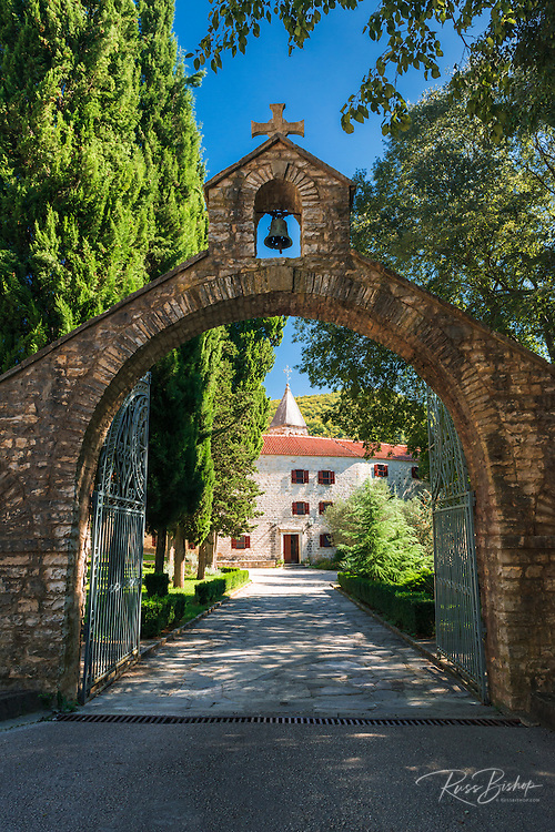 The entrance to Krka Monastery, Krka National Park, Dalmatia, Croatia