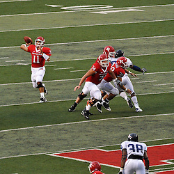 Sep 12, 2009; Piscataway, NJ, USA; Rutgers quarterback Domenic Natale (11) makes a pass during the second half of Rutgers' 45-7 victory over Howard in NCAA college football at Rutgers Stadium