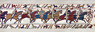 11th Century Medieval Bayeux Tapestry - Scene 51 William encourages his cavalry into battle. Battle of Hastings 1066. .<br /> <br /> If you prefer you can also buy from our ALAMY PHOTO LIBRARY  Collection visit : https://www.alamy.com/portfolio/paul-williams-funkystock/bayeux-tapestry-medieval-art.html  if you know the scene number you want enter BXY followed bt the scene no into the SEARCH WITHIN GALLERY box  i.e BYX 22 for scene 22)<br /> <br />  Visit our MEDIEVAL ART PHOTO COLLECTIONS for more   photos  to download or buy as prints https://funkystock.photoshelter.com/gallery-collection/Medieval-Middle-Ages-Art-Artefacts-Antiquities-Pictures-Images-of/C0000YpKXiAHnG2k