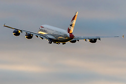 An Airbus A380 retracts its landing gear as it takes off at London's Heathrow Airport (LHR / EGLL).