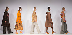 © Licensed to London News Pictures. 31/05/2015. London, UK. Collection by Sarah Gillings. Fashion show of UCA Epsom at Graduate Fashion Week 2015. Graduate Fashion Week takes place from 30 May to 2 June 2015 at the Old Truman Brewery, Brick Lane. Photo credit : Bettina Strenske/LNP