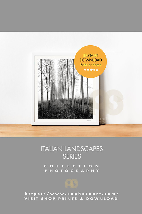 """SERIES ITALIAN LANDSCAPE 1 - DOWNLOAD  Printable Art is a great and affordable way to update your home or office. Files can be printed anywhere you like on your budget !  This its way you get   original Photo Size PRINT AT HOME. Available in square format at 20x20cm (7.87X7.87inch), - (includes 1 cm white border)-,Edition of 25, signed and numbered. • €40 images files at 300dpi.  • Keep in mind that Black and White tones  may vary slightly due to different monitors/printers.  •This purchase is for personal use •Each images is form an original photo from my travels. I do not license artwork from others. • Frame non include • When you download the image, the transparent """"Theft Guard"""" overlay is removed from the image. This serie is copyright of © Alejandro Sala Photographs"""