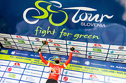 Points winner Matej MOHORIC of BAHRAIN VICTORIOUS celebrates in red jersey at trophy ceremony after the 4th Stage of 27th Tour of Slovenia 2021 cycling race between Ajdovscina and Nova Gorica (164,1 km), on June 12, 2021 in Slovenia. Photo by Vid Ponikvar / Sportida