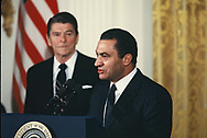 Washington, D.C, 1982/02/03  President Ronald Reagan  with Presaident Mubarak of Egypt <br /><br />Photo by Dennis Brack