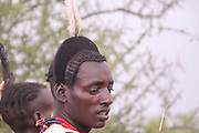 Africa, Ethiopia, Omo River Valley Hamer Tribe ready for the start of the Jumping of the Bulls ceremony